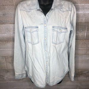 American Eagle slim fit denim button fall shirt